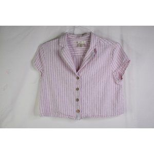 Kaisely Pink Blue Striped Button Down Crop Top M